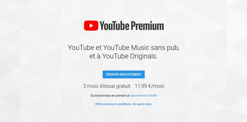 Youtube Premium : 3 mois gratuit